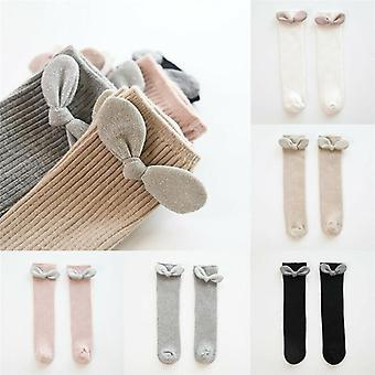 Girls Big Bow Knee High Long Soft, Cotton Lace Socks