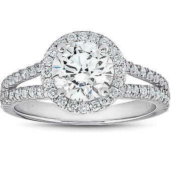 2 Ct tdw Diamond Halo Split Band Engagement Ring 14k White Gold