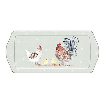 Home Living Hens & Chicks Long Drinks Tray HH2093