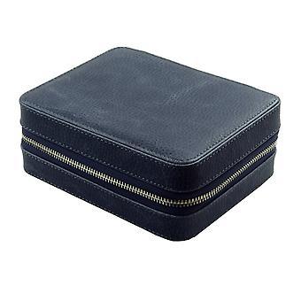 Strapsco dassari leather watch case w/ suede interior (fits 4 watches)