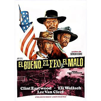 The Good The Bad And The Ugly Clockwise From Top Lee Van Cleef Eli Wallach Clint Eastwood On Spanish Poster Art 1966 Movie Poster Masterprint