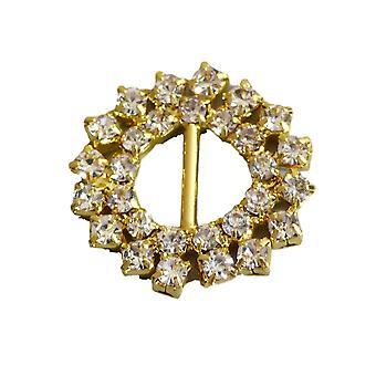 Gold Decorative Sparkly Round Spike Ribbon Slider Buckles