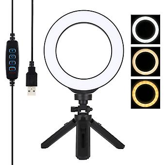 PULUZ 6.2 pouces 16cm USB 3 Modes Dimmable LED Ring Vlogging Photography Video Lights + Pocket Tripod Mount Kit with Cold Shoe Tripod Ball Head (Noir)