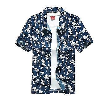 Shirts Men Summer Vacation Hombre Coconut Tree Printed Short Sleeve Shirts