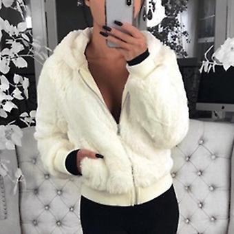 New Faux Fur Coat With Hood High Waist Fashion Slim Jacket