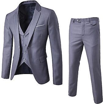 Men Business Blazer +vest +pants Suits Sets, Autumn Wedding Party