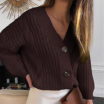 Vintage kardigán kötött V nyakú pulóver, hosszú ujjú kabát és kabátok