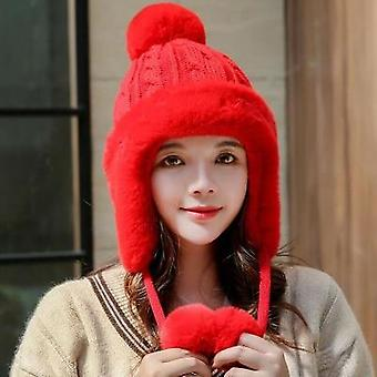 Women Cute Pompom Knitted Skullies Cap, Winter Warm Earflap Hat