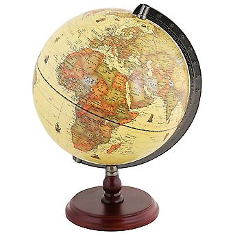 Exerz antique globe with a wood base - dia 25cm world globe rotating 25cm antique