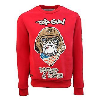 Top Gun Defend and Serve Crewneck Sweatshirt Red