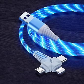 Ilano 3 in 1 Luminous Charging Cable - iPhone Lightning / USB-C / Micro-USB - 2 Meter Charger Data Cable Blue