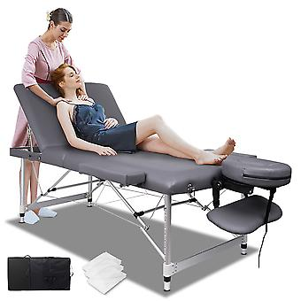 ELFORDSON Portable Massage Bed Table 3 Fold 75cm Wide Adjustable Aluminium Couch Beauty SPA Treatment Waxing Bed(Grey)