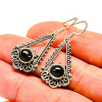 "Star Diopside Earrings 1 1/2"" (925 Sterling Silver)  - Handmade Boho Vintage Jewelry EARR411111"