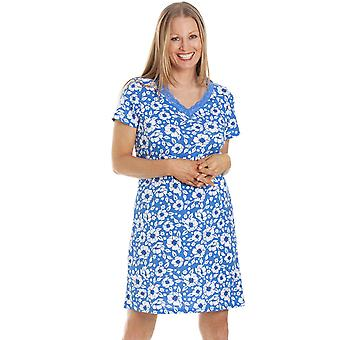 Camille Womens Sky Blue Blommig Bomull Nightdress