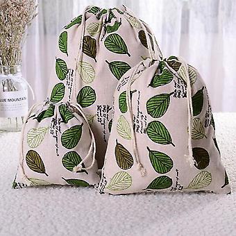 Wood Grain Drawstring Cotton Linen Storage Bag