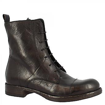 Leonardo Shoes Women'shandmade round toe laces ankle boots in black calf leather with side zip closure