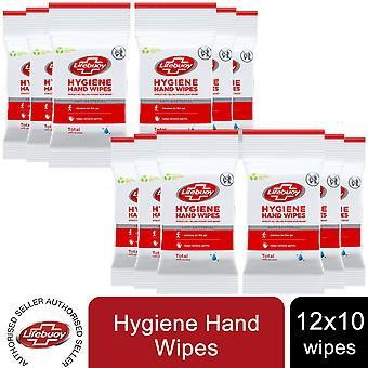 12pk of 10pc Lifebuoy Alcohol-based Hygiene Anti-bac hand wipes