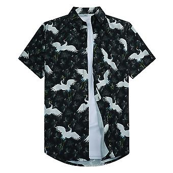 Allthemen Men's 3D-tulostettu paita Klassinen Japanilainen tyyli Lyhythihainen Lapel Top