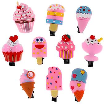 10x Cute Hair clips - Ice creams