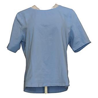 Denim & Co. Women's Top Short Sleeve Jersey Blue A378932