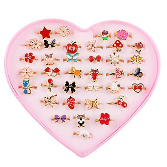 36pcs Children's Ring Set With Exquisite Ring Love Heart-shaped Box