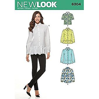 New Look Sewing Pattern 6304 Misses Shirts Size A 10 - 22