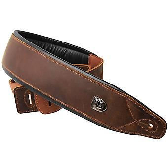 Soldier Top Grain Leather Cowhide Padded Guitar Strap Belt