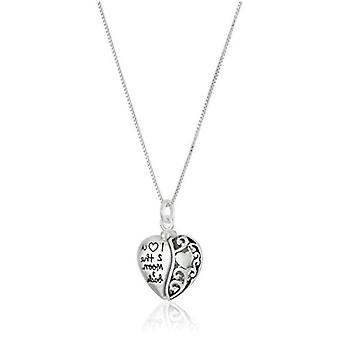 """Sterling Silver Heart """"I Love U 2 The Moon and Back"""", Silver, Size No Size"""