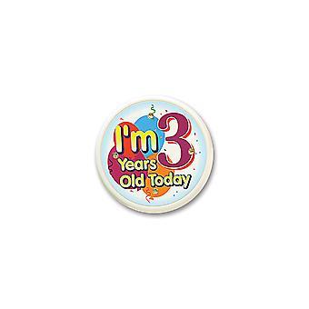 I'M 3 Jahre alt heute blinkenden Knopf (Pack von 6)