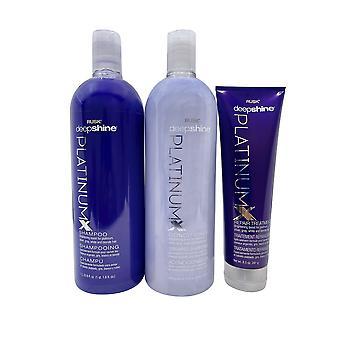 Rusk Deep Shine Platinum X Shampoo & Conditioner 33.8 OZ Repair Treatment 8.5 OZ