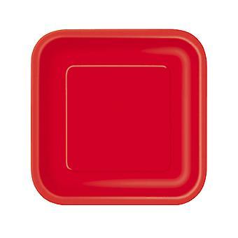 14 Grandes assiettes en carton rouges 23 cm