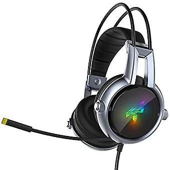 SOMIC E95-20th Gaming Headset med 7.1 surroundlyd, støyreduserende mikrofon, kompatibel med PC, PS4, Xbox One-kontroller (svart og sølv)