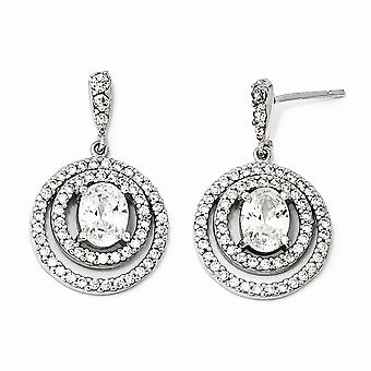 925 Sterling Silver Circle CZ Cubic Zirconia Simulated Diamond Dangle Post Earrings Measures 27x17mm Wide Jewelry Gifts