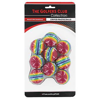 Golfers Club Foam Striped Practice Balls pack 9