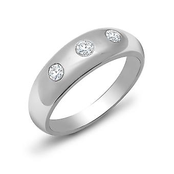 Jewelco London Men's Solid 9ct White Gold Rub Over Set Round J SI 0.5ct Diamond Domed Band Trilogy Ring 9mm