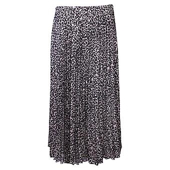 Just White Leopard Print Pleated Long Skirt