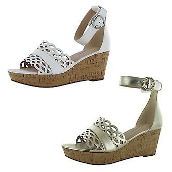 Isaac Mizrahi Live Womens Macie Leather Wedge Sandals