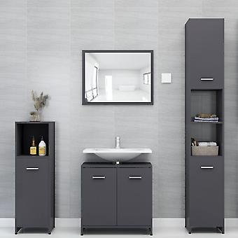 vidaXL 4 kpl. Kylpyhuoneen huonekalut setti kiiltävä harmaa lastulevy