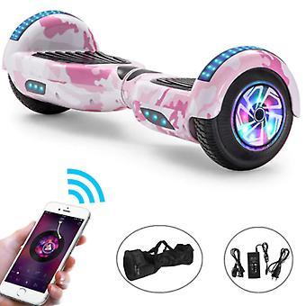 "Stuff Certified® Electric E-Scooter Hoverboard Bluetooth-kaiuttimella - 6,5"" - 500W - 2000mAh Akku - Balance Hover Board Pink Camo"