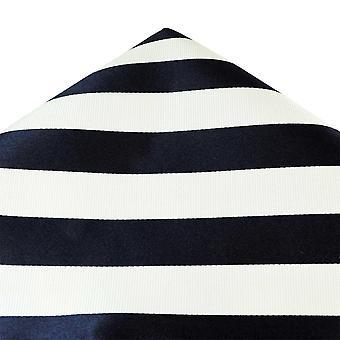 Ties Planet Gold Label Navy & White Striped Silk Pocket Square Handkerchief