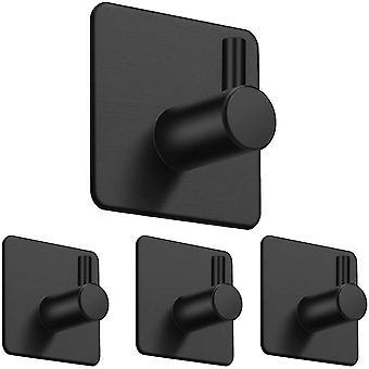 4 Pack Heavy Duty Wall Hooks Self Adhesive Stainless Steel Hanger(Black)