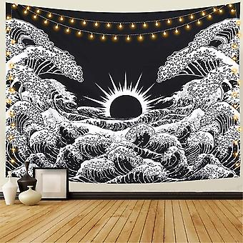 Black And White Ocean Tapestry Wall Hanging For Living Room Bedroom