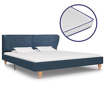 vidaXL bed with memory foam mattress blue fabric 180×200 cm
