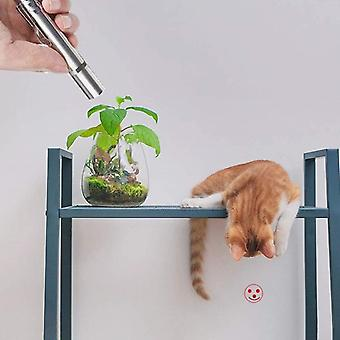 Stainless Steel- Rechargeable Flashlight With  5 Patterns, Cat Stick, Laser Pen