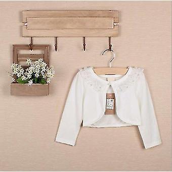 Kleinkind Mädchen lange Ärmel Spitze Blume Oberbekleidung Cardigan Elfenbein 110cm