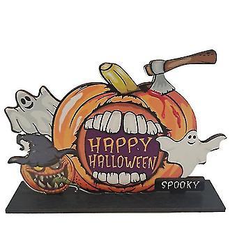 Halloween Kurpitsan oven roikkuva tervetuliaiskyltti - Hyvää Halloween-puista plakkilevyn sisustusta (väri3)