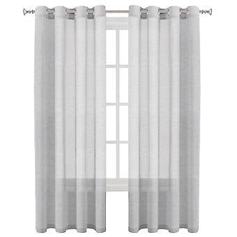 2X linne ren gardiner fönsterbehandling öljett topppaneler, duva grå