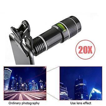 Mobile Phone Camera Zoom Lens Kit Clip on 20X Telescope Telephoto Universal