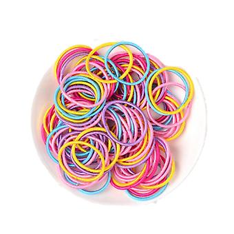4SETS  100Pcs/Set Children Girls Hair Bands Candy Color Hair Ties Colorful Basic Simple Rubber Band