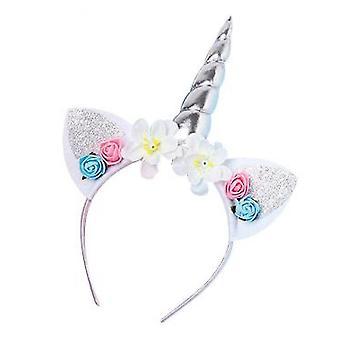 Dream Unicorn Flower Hair Hoop Children's Birthday Gift(Silver)
